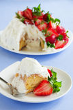 Sponge cake Angel Food with strawberries Royalty Free Stock Images