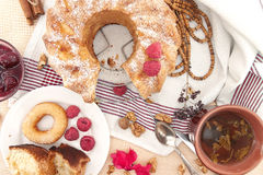 Sponge cake with apple, raspberry and cinnamon. Top view Royalty Free Stock Images