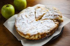 Sponge cake with apples,Apple pie,fruit biscuit with powder stock photo