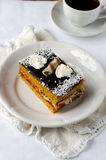 Sponge-cake with apricot jam in chocolate Royalty Free Stock Image