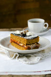 Sponge-cake with apricot jam in chocolate Royalty Free Stock Photography