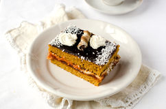 Sponge-cake with apricot jam in chocolate Stock Images