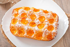 Sponge cake with apricots Royalty Free Stock Photo