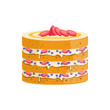 Sponge Cake With Berries And Cream Decorated Big Special Occasion Party Dessert For Wedding Or Birthday Celebration Stock Image