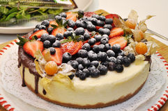 Sponge cake with berries isolated Royalty Free Stock Image