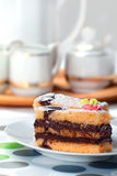 Sponge Cake Bricks with Chocolate Sauce Royalty Free Stock Photo