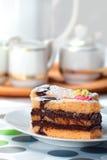Sponge Cake Bricks with Chocolate Sauce Royalty Free Stock Photo