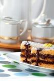 Sponge Cake Bricks with Chocolate Sauce Royalty Free Stock Image