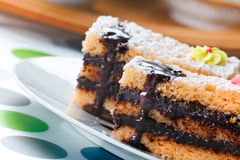 Sponge Cake Bricks with Chocolate Sauce Stock Images