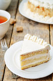 Sponge cake with butter cream Royalty Free Stock Photography