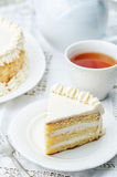 Sponge cake with butter cream Stock Images