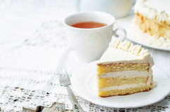 Sponge cake with butter cream Stock Image