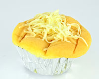 Sponge cake with cheese toppingSponge cake with golden threads Thai dessert topping Royalty Free Stock Photo