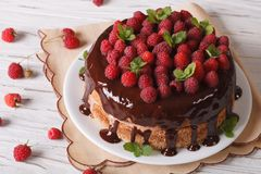 Sponge cake with chocolate and fresh raspberries, horizontal. Sponge cake with chocolate and fresh raspberries close-up on the table. horizontal Stock Images