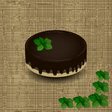 Sponge cake with chocolate icing drizzled with a sprig of mint on the texture background Stock Image