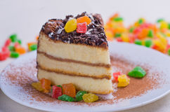 Sponge cake with chocolate topping Royalty Free Stock Photography
