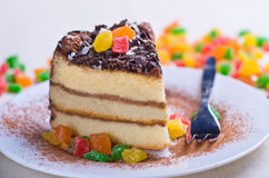 Sponge cake with chocolate topping Stock Photo