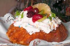 Sponge cake  and Christmas Tree Royalty Free Stock Photo
