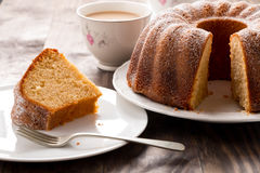 Sponge cake with coffee with milk Royalty Free Stock Images