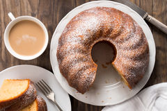 Sponge cake with coffee with milk Stock Images