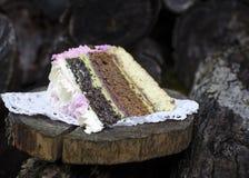 Sponge cake with cream cheese stock photo