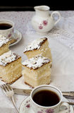 Sponge cake with a cup of coffee. Still Life with slices of sponge cake sprinkled with powdered sugar and a cup of coffee on a dark background Royalty Free Stock Photography