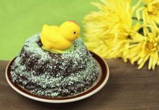 Marzipan chicken on cake Royalty Free Stock Photos