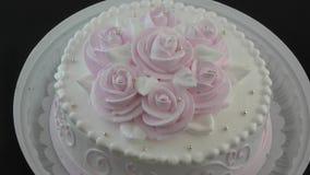 Sponge cake for dessert. Sponge cake with cream for dessert stock footage
