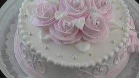 Sponge cake for dessert stock footage