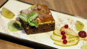 Sponge Cake Dessert With Mint Fruits And Ice Cream stock video