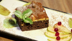 Sponge Cake Dessert With Mint Fruits And Ice Cream stock video footage