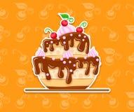 Sponge cake dessert with sweet chocolate glaze Royalty Free Stock Photography