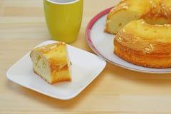 Sponge cake on a dish Stock Photos
