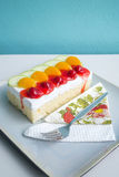 Sponge Cake with Fresh Fruit. And Whipped Cream Stock Photos