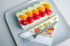Sponge Cake with Fresh Fruit. And Whipped Cream Stock Images