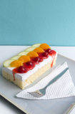 Sponge Cake with Fresh Fruit. And Whipped Cream Stock Photography