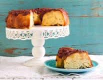 Sponge cake with fruit slices Stock Photos