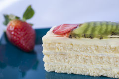 Sponge cake with fruits Stock Photography