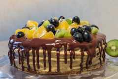 Sponge cake with fruits and chocolate stains Royalty Free Stock Photography