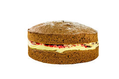 Sponge Cake. Home made sponge cake on a isolated background Royalty Free Stock Photography