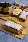 Sponge cake with jam. In white glaze. Selective focus Stock Image