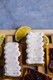 Sponge cake with jam. In white glaze. Selective focus Stock Images