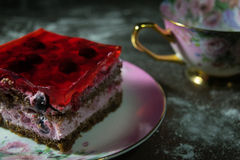Sponge cake with jelly and berries Royalty Free Stock Images