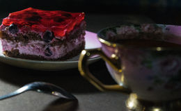 Sponge cake with jelly and berries Royalty Free Stock Photo
