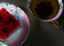 Sponge cake with jelly and berries Royalty Free Stock Photos