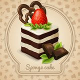 Sponge cake label. Sponge cake dessert with strawberry label and food cooking icons on background vector illustration vector illustration