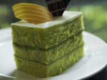 Sponge Cake Layered in Rich Pandan Kaya Stock Images