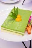 Sponge Cake Layered in Rich Pandan Kaya Stock Photography