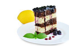 Sponge cake with lemon cream and blueberry sauce isolated Royalty Free Stock Photos