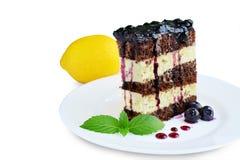 Sponge cake with lemon cream and blueberry sauce isolated royalty free stock photos